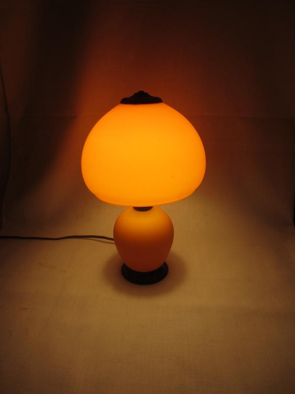 BELLOVA bohemian czech ORANGE Art Glass BOUDOIR LAMP McFaddin ART DECO
