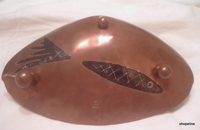 vintage mexican LOS CASTILLO Copper Brass Sterling FISH BOWL Tray TAXCO, signed
