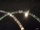 STERLING & MALACHITE inlay hinged NECKLACE, BRACELET & EARRINGS set PARURE 0.925
