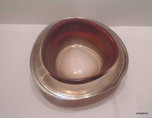 vintage KOSTA - VICKE LINDSTRAND - cased amber & clear ART GLASS BOWL signed LS 678