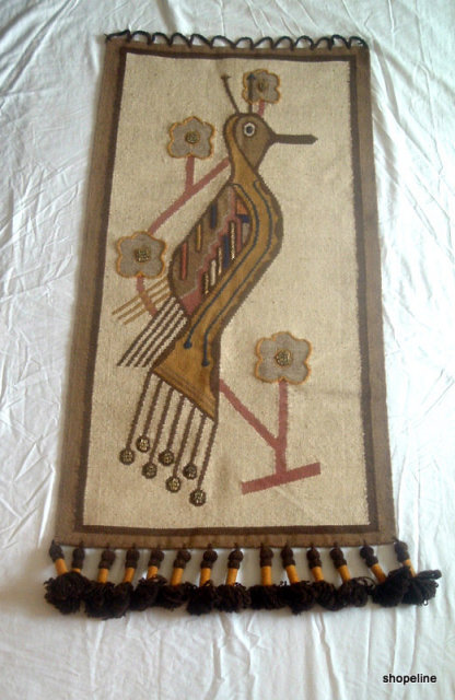 50's vintage Folklore OLGA FISCH Wall Hanging PEACOCK Bird  woven TAPESTRY - eames era