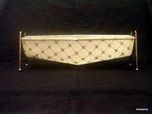 MID CENTURY MODERN 50's 60's vintage FIBERGLASS PLANTER gold thread with stand eames era NOS