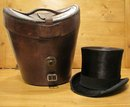 Beaver Top Hat & Leather Hat Box