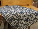 Homespun Bed Cover - Blue & White