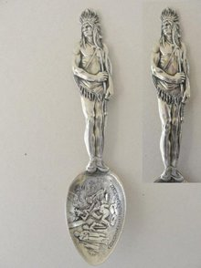 Sterling Demitasse Indian Chief Souvenir Spoon