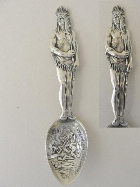 Sterling Demitasse Indian Chief Souvenir Spoon