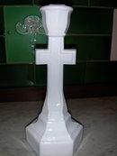 Cambridge Milk Glass Crucifix Candlestick.