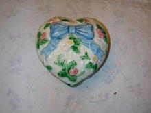 Haldon Ribbon and Bow Heart Shaped Trinket Box.