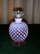 Cranberry Opalescent Hobnail Perfume Bottle.