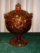 U.S. Glass Daisy and Button Amber Covered Compote.
