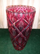 German Hand Cut Cranberry Lead Crystal Vase.