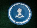 Wedgwood Queen Elizabeth II Silver Jubilee Commemorative Cobalt Blue Jasperware Sweet Dish.