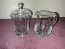 Cut Lead Crystal Floral Creamer and Sugar.