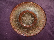 Imperial Glass Crackle Marigold Carnival Glass 6 Inch Plate.