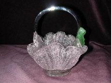 Italian Pink Overshot Glass Basket.