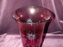Cranberry Glass Trumpet Vase with Floral Cut.