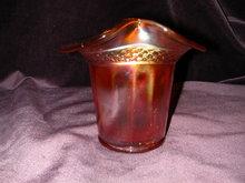Dugan Band Marigold Carnival Glass Violet Basket.
