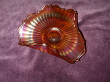 Fenton Smooth Rays Marigold Carnival Glass Tri-Cornered Bonbon.
