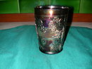 Fenton Floral and Grape Variant Marigold Carnival Glass Tumbler.