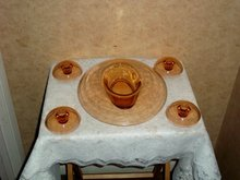 compote set, compote and 4 candleholders