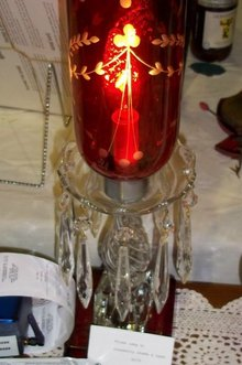 prism lamp w/ cranberry shade & base