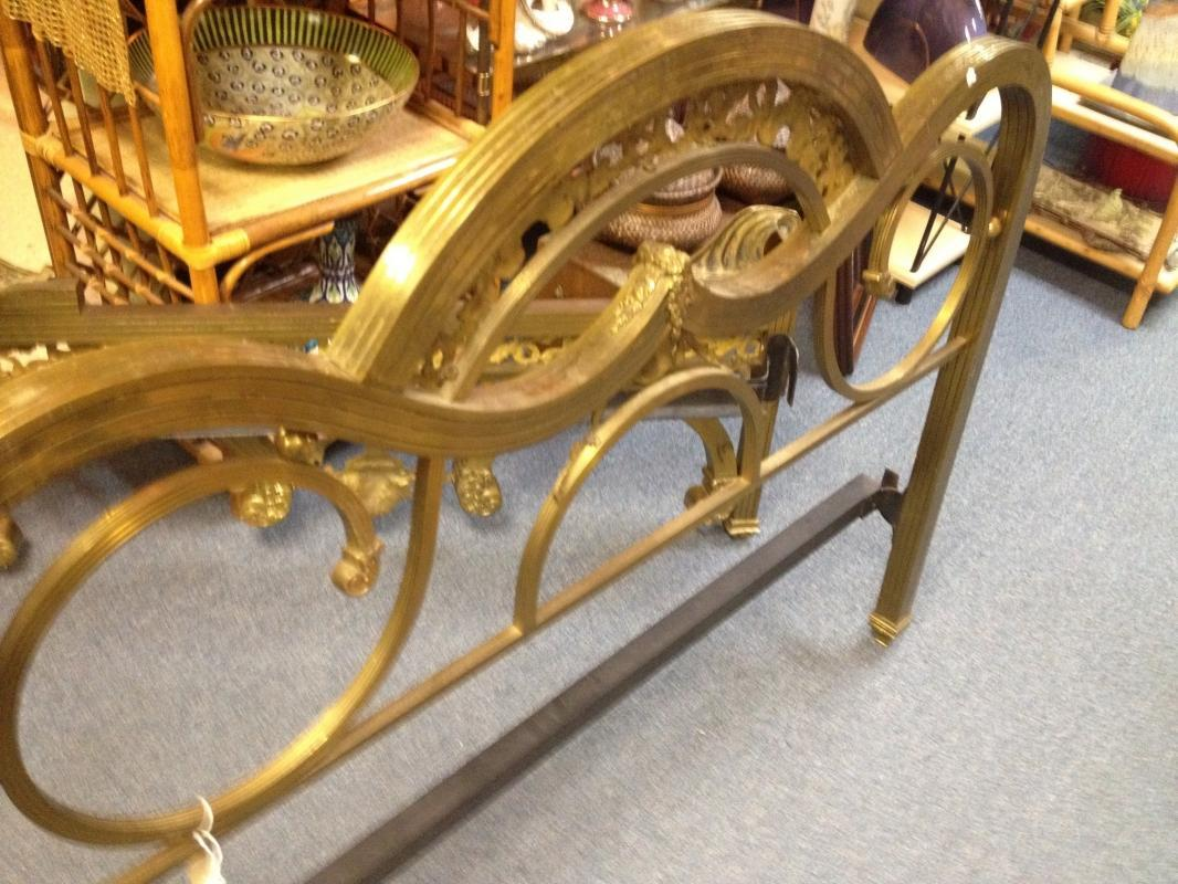 19th Century Ornate Antique Brass Bed