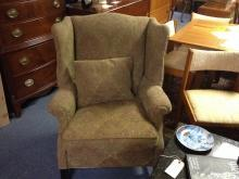 Vintage Upholstered Wingback Fireside Club Lounge Chairs