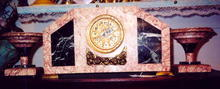 French Art Deco Marble Clock w/Tazzas