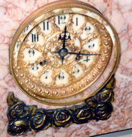 French Art Deco Marble Clock w/Tazzas
