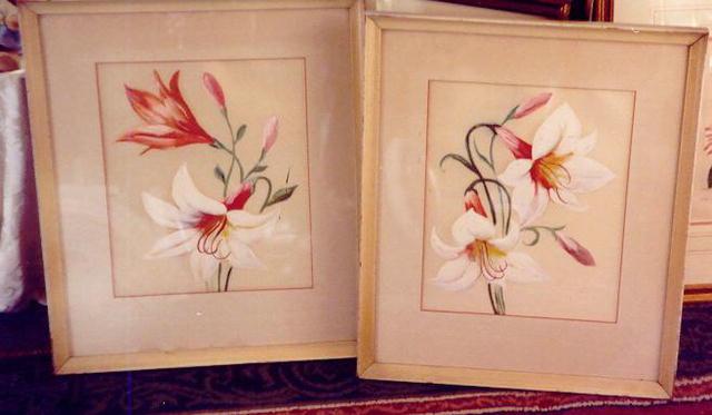 Lilies on Silk--pair