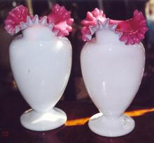 Pr. art glass vases w/ pink edging