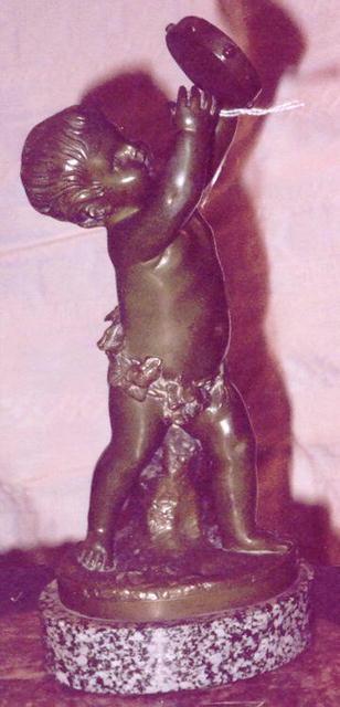 Bronze statue of Cherub w/tamborine