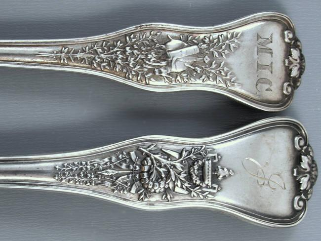 Antique Tiffany and Company Patent 1878 Olympian Victorian sterling silver dinner fork and matching tea spoon