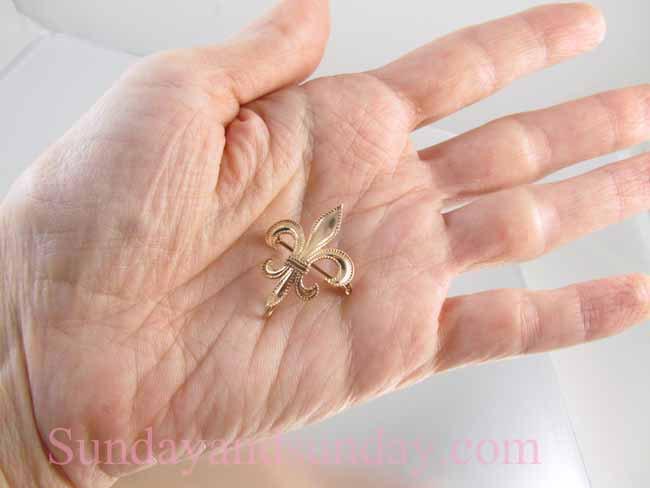 Antique Edwardian 10k rose gold fleur de lis brooch pin, lapel pin, watch pin