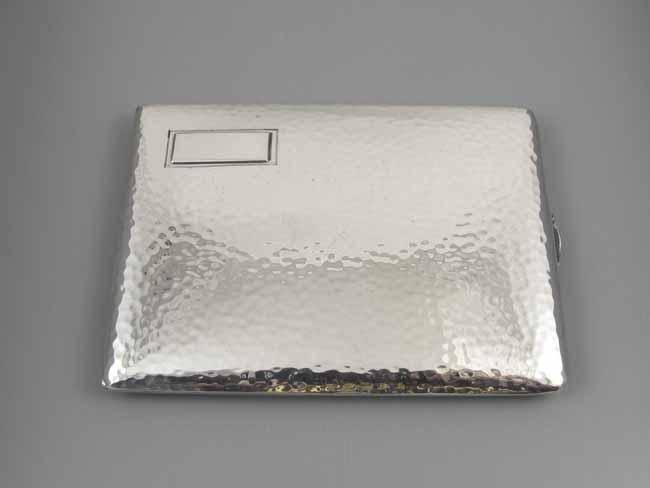 3.8 ounce vintage Art Deco hand hammered signed Watrous sterling silver cigarette case, smoking, tobacciana, business card case