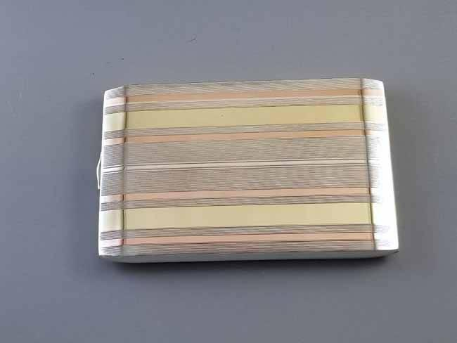 5.6 ounce Vintage Art Deco signed Napier sterling silver 14K rose and yellow gold cigarette case, tobacciana, smoking, business card case