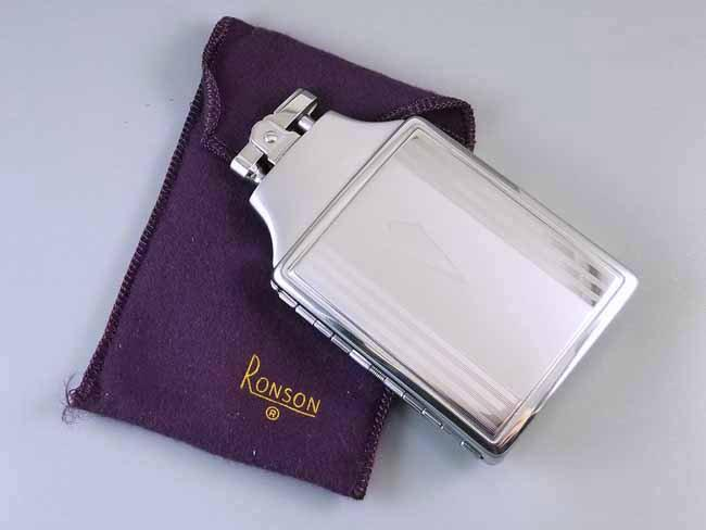 Cigarette case lighter Ronson chrome vintage Art Deco unused, new old stock, nos, tobacciana, smoking, collectibles, man cave