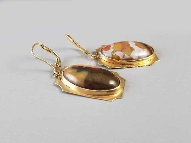 Vintage mid century 14k gold jasper agate pierced lever back earrings, Southwestern, Native American Indian