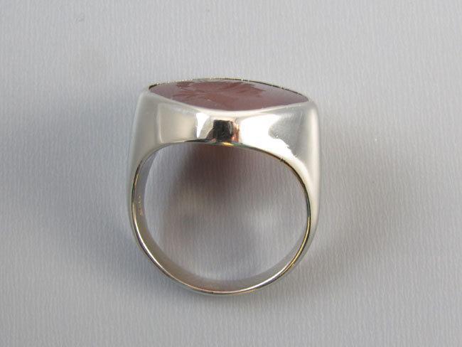 Mans vintage Art Deco 14k white gold carnelian intaglio seal ring, size 10