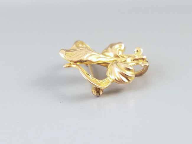 Antique Art Nouveau 14k gold iris flower fleur de lis brooch pin, watch pin, lapel pin, signed Champenois