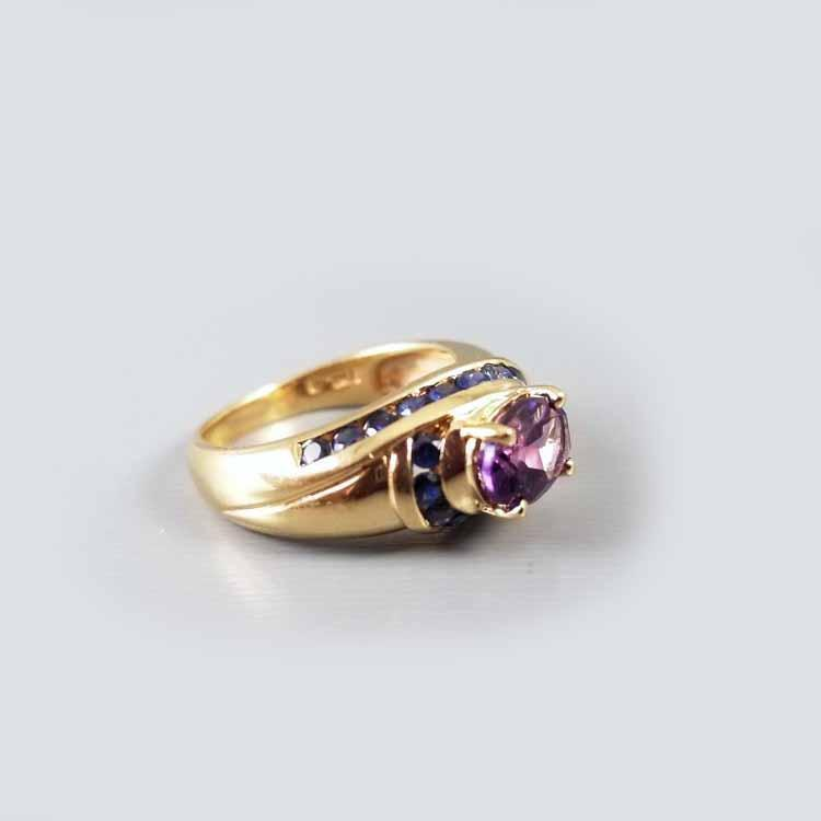Modern estate 14k gold amethyst and channel set blue sapphire swirl cocktail ring, size 6