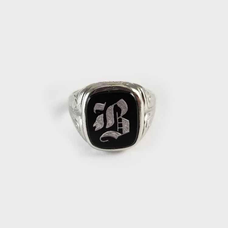Fabulous antique Art Deco white gold 12k black onyx B initital signet ring, unisex, size 9-1/2, signed Dattlebaum & Friedman