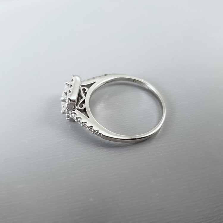 Modern estate 14k white gold princess cut diamond quad .66 carat tw engagement halo ring, size 8-1/4