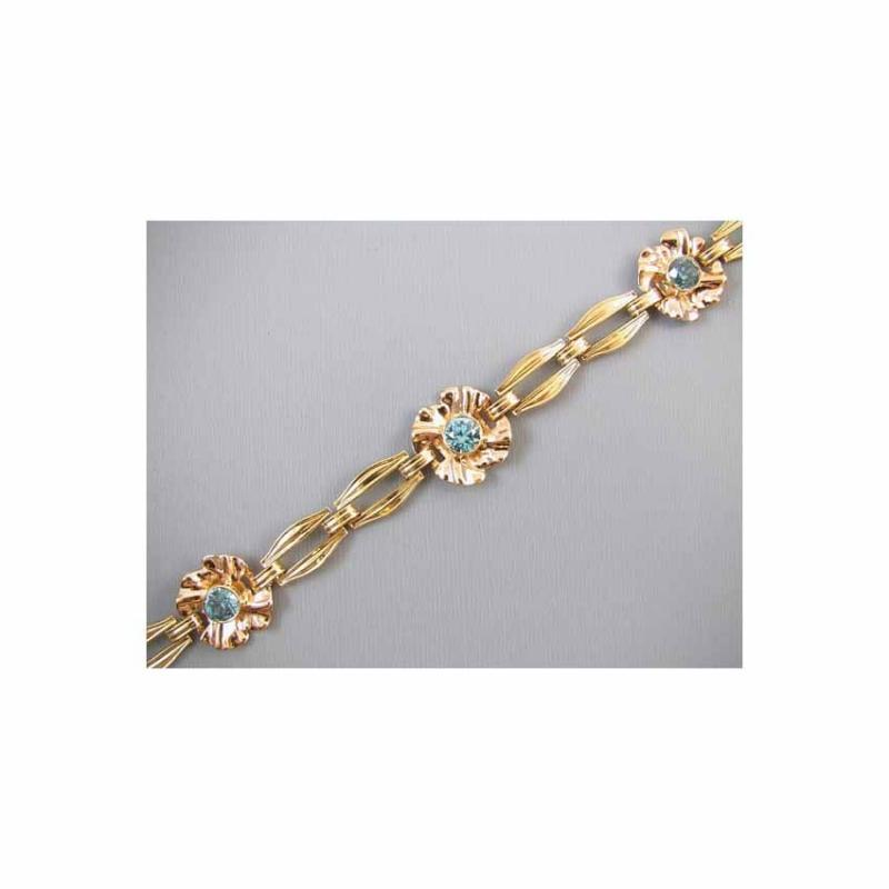 Vintage Retro Moderne 14k yellow and rose gold genuine blue zircon bracelet signed Church and Company