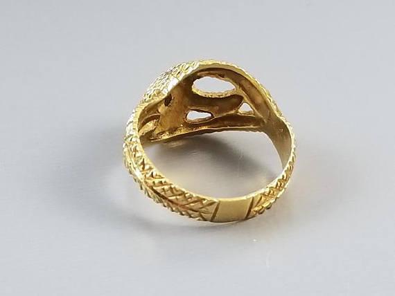 Vintage 18k gold diamond textured snake ring, 1972, unisex, size 9-1/2, English London Assay Office maker marked, 8.2 grams