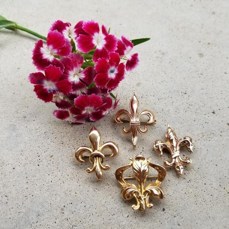 Antique Edwardian 10k rose pink gold fleur de lis brooch pin, watch pin, lapel pin
