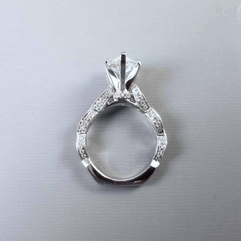 Modern estate diamond engagement ring 14k white gold, platinum head, pear shape 1.91 carat, 82 diamond mounting, 2.75 cttw, GIA cert, SI2/G