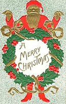 Santa Claus in Gilt with Wreath 1908 Postcard