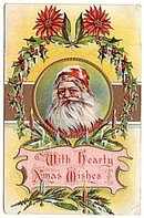 Santa Claus 'With Hearty Xmas Wishes' 1918 Postcard