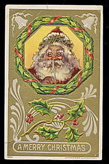 Santa Claus with Quill Pen 1908 Postcard
